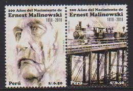 PERU, 2018, MNH, ERNEST MALINOWSKI, FAMOUS ENGINEERS, TRAINS, BRIDGES, 2v - Trains