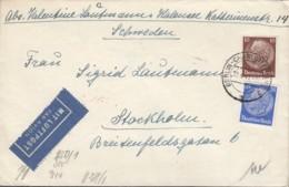 DR 518, 522 A, MiF Auf Luftpost-Brief, Gest: Berlin-Charlottenb 12.4.1941 N. Stockholm, Mit ZENSUR-Streifen Und -Stempel - Briefe U. Dokumente