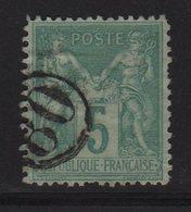Type Sage - Jour De L An - 80 - Chiffre Dans Un Cercle - 1876-1898 Sage (Type II)