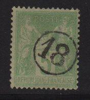 Type Sage - Jour De L An - 18 - Chiffre Dans Un Cercle - 1876-1898 Sage (Type II)