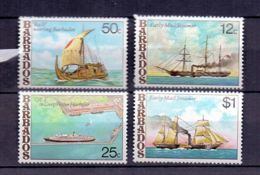 1979 Barbados Ships MNH** MiNr. 456 - 459 Postship Forth, Queen Elithabeth II Cruise Liner, Ra II - Schiffe