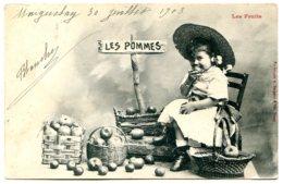 Bergeret - Les Fruits - Les Pommes - Adorable Fillette - Postée En 1903 - Bergeret