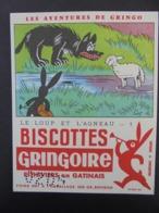 BUVARD - ILLUSTRATEUR COQ - BISCOTTES GRINGOIRE - LE LOUP ET L'AGNEAU N° 1 - LES AVENTURES DE GRINGO - Unclassified