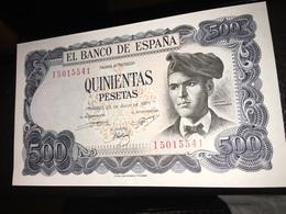 See Photos. Spain - 500 Pesetas – July 1971 Banknote.  Jacinto Verdaguer - Condition UNCIRCULATED - [ 3] 1936-1975 : Regime Di Franco