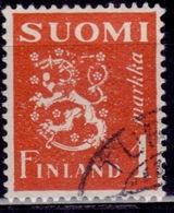 Finland, 1930, Standing Lion, 1Mk,  Sw#156, Used - Usati