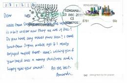 27H : Singapore Merlion Monument, Skyline Architecture Label Stamp Used On Postcard - Singapore (1959-...)