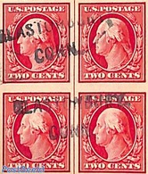 United States Of America 1910 2c Imperforated, Block Of 4 [+], Used, (Used Stamps) - Used Stamps