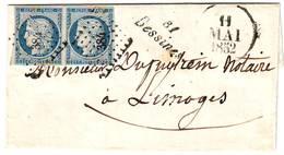 Paire N° 4 Obl PC 384 CURSIVE 81 BESSINES Lettre 1852 , Haute Vienne TTB +++ Cote 600 Euros - 1849-1876: Période Classique