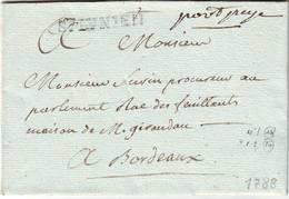 Marque Postale Ancien Regime St JUNIEN PORT PAYE Lenain N° 1 ET 2 , Haute Vienne Sur Lettre 1788 Cote 500 Euros - Marcophilie (Lettres)