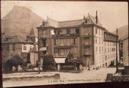 """Cpa,  Brig """"Grand Hôtel Couronne Et Poste"""" + Panneau """"Auto Garage"""", éd J.J N° 7910, écrite En 1908, SUISSE - VS Valais"""