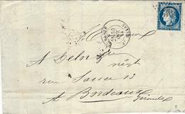 1874- Lettre De Paris /  Bt MAZAS  Affr. N° 22 Oblit. étoile 30 - 1849-1876: Classic Period