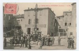 CPA 1908 ARDECHE BOULIEU ANNONAY GROS PLAN ANIME LA PLACE AUBERGE VOIR DETAILS - France