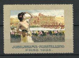 Reklamemarke Prag, Jubiläums-Ausstellung 1908, Fräulein Blick Auf Den Ort - Erinnofilie