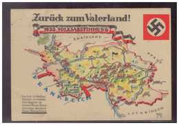 Dt.- Reich (009372) Propagandakarte Zurück Zum Vaterland Doppelkarte Volksabstimmung 1935 Saarland, Gelaufen Saarbrücken - Briefe U. Dokumente