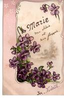 CP Avec Fleur Violette Et Prénom Marie - Fleurs