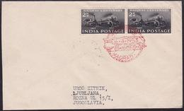 India, Railway, 1953, Commemorative Cancellation Madras, Sent To Yugoslavia - Trains