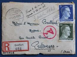 Lettre Recommandé Guerre WW2 39-45 De Querfurt 1943 Bailleul Huissier Putanges Artur Schmidt Timbres Deutsches Reich - 1939-45