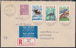 Finland, Red Cross, 1966, FDC, Sent Registered Airmail To Yugoslavia - Croce Rossa