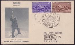 India, Mount Everest, 1953, Commemorative Cancellation Madras, Sent To Yugoslavia - Climbing