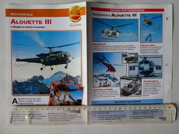 Fiche AEROSPATIALE Hélicoptère ALOUETTE III  Avion Aviation Chasseur Bombardier Aéronautique Avionique - Aviones