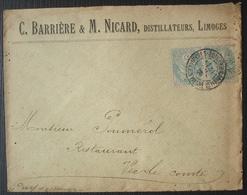 Limoges 1906 C. Barrière & M. Nicard Distillateurs, Affranchie Avec Une Paire De 5 Centimes Type Blanc - Marcophilie (Lettres)
