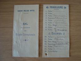 PROGRAMME BAL EN L'HONNEUR DES REGATES INTERNATIONALES CASINO PALACE HOTEL - Programas
