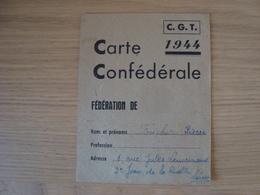 CARTE CONFEDERALE C.G.T 1944 - Historische Dokumente