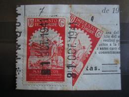 MAROC Affranchissement De Fortune Durant La 2è Guerre Mondiale Moitié De Timbre Fiscal (soit 10c+ 5c) Sur Fragment En 41 - Maroc (1891-1956)