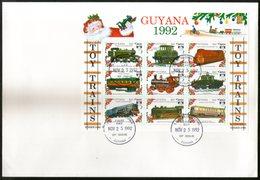 Guyana 1992 Toy Trains Locomotive Railway Sc 2622 Sheetlet FDC # 15202 - Trains