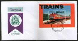 Grenada 2002 Trains Locomotive Railway Sc 3041 M/s FDC # 16027 - Trains