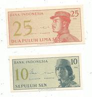 Billet , Bank INDONESIA , 10 Et 25 Sen ,1964 ,  2 Scans , Unc  LOT DE 2 BILLETS - Indonesia