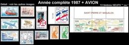 ST-PIERRE ET MIQUELON  - Année Complète 1987 + AVION - Yv. 475 à 485A + PA 64/65 NEUF   13 Tp  ..Réf.SPM11777 - St.Pierre & Miquelon
