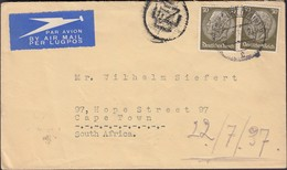 Germany - Airmail, Luftpost. Frankfurt 22.7.1937 - Cape Town, South Africa, MiNr. 523 MeF. - Lettres & Documents
