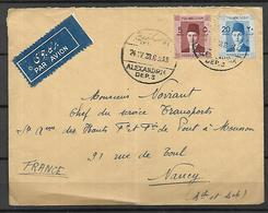 Egypte Royaume Lettre Du 24 04 1938 De Alexandrie Pour Nancy 54 - Egypt