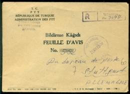 Türkei 1975 Registrierter Dienstumschlag Hinweisblatt Von Istanbul Nach Stuttgart Porto Frei - Brieven En Documenten