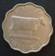 GUERNESEY - 3 PENCE 1956 - Elizabeth II - Flan Mince - KM 17 - THREE PENCE - GUERNSEY ( Vache - Cow ) - Guernesey