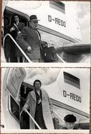 2 Photos Originales Passagers Du Vol D - AEDO à La Descente De L'Avion & Hôtesses De L'Air En 1957 - Palma De Mallorca - Luftfahrt