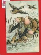 Jolie Carte Illustrateur  Chasse Chasseur Canard Chien Fusil Chute Marais Flogny - 1 De April (pescado De Abril)