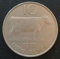 GUERNESEY - 10 PENCE 1970 - Elizabeth II - KM 24 - TEN NEW PENCE - GUERNSEY ( Vache - Cow ) - Guernesey