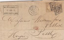 LETTRE. 17 JUIN 73. LE HAVRE. 2 X 30c. N° 56.  60c 2° ECHELON POUR PESTH HONGRIE - Marcophilie (Lettres)