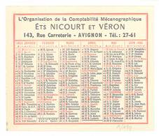 """Petit Calendrier """"Organisation De La Comptabilité Mécanographique"""", Ets Nicourt Et Véron, Avignon, Rue Carreterie, 1955 - Calendarios"""