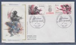 = Anniversaire Libération Enveloppe 1er Jour Paris 8.5.84 N°T2313A Triptyque 2312 & 2313 La Résistance Le Débarquement - 1980-1989