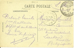 """Cp De EU """" Le Château """" Avec Cachet Agence LAEKEN 11 Et Cachet Militaire Belge 1 De 1918 . - Postmark Collection"""