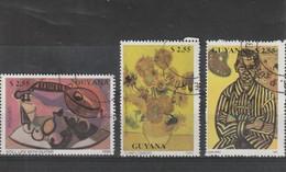 Guyana   Oblitéré  1990  N° 2350/2352  Tableaux De Picasso, Van Gogh Et Juan Miro - Guyane (1966-...)