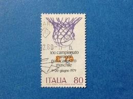 1979 ITALIA SPORT CAMPIONATO EUROPEO PALLACANESTRO MASCHILE 80 LIRE FRANCOBOLLO USATO ITALY STAMP USED - 6. 1946-.. Repubblica