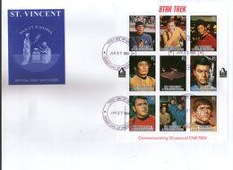St. Vincent 1994 Star Trek Cinema Film Sc 2244 Sheetlet FDC # 10800 - Cinema