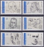 Frankreich, 1991, Mi.Nr. 2819/24/ , MNH **,  Écrivain - Unused Stamps