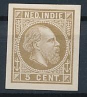 Nederlands Indië - 1868 - 5 Cent Willem III, Proef 11d - Olijfbruin - Niederländisch-Indien