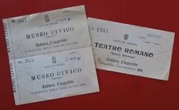 Lot De 3 Italie Lessera D'ingresso CITTA DI VERONA MUSEO CIVICO Et TEATRO ROMANO 1907 - Tickets D'entrée
