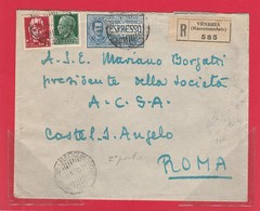 REGNO 256 - Lettera Racc.Espresso 2° Porto, Viagg. Nel 1930 Da Venezia A Roma - Storia Postale